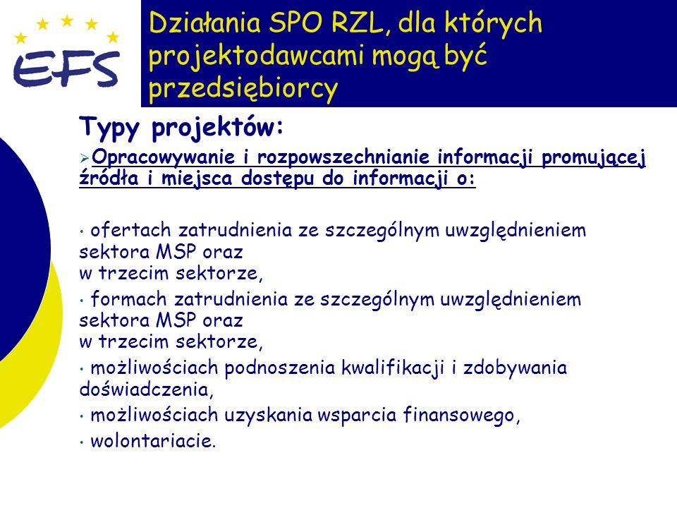 6 Działania SPO RZL, dla których projektodawcami mogą być przedsiębiorcy Typy projektów: Opracowywanie i rozpowszechnianie informacji promującej źródł