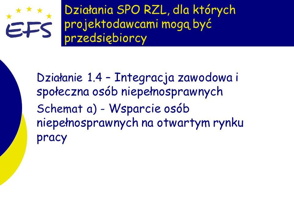 8 Działania SPO RZL, dla których projektodawcami mogą być przedsiębiorcy Działanie 1.4 – Integracja zawodowa i społeczna osób niepełnosprawnych Schemat a) - Wsparcie osób niepełnosprawnych na otwartym rynku pracy