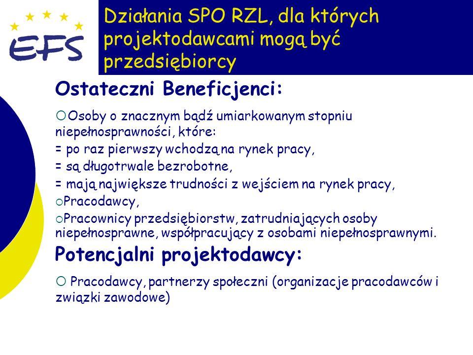 9 Działania SPO RZL, dla których projektodawcami mogą być przedsiębiorcy Ostateczni Beneficjenci: Osoby o znacznym bądź umiarkowanym stopniu niepełnos