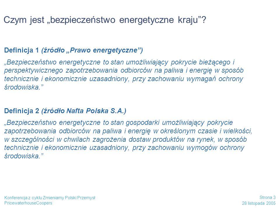 PricewaterhouseCoopers 28 listopada 2005 Strona 14 Konferencja z cyklu Zmieniamy Polski Przemysł Wnioski Infrastruktura surowcowa pod kontrolą Państwa Rozdzielenie logistyki surowcowej od produktowej Utrzymanie i wzmocnienie niezależności logistyki produktowej Potrzeba połączenia w jednym organiźmie kluczowych aktywów logistyki produktowej: -Naftobazy -rurociągów produktowych PERN Zmiana regulacji dotyczących zapasów obowiązkowych Zapewnienie mechanizmu stymulowania budowy nowych pojemności zbiornikowych i systemu przesyłu rurociągowego