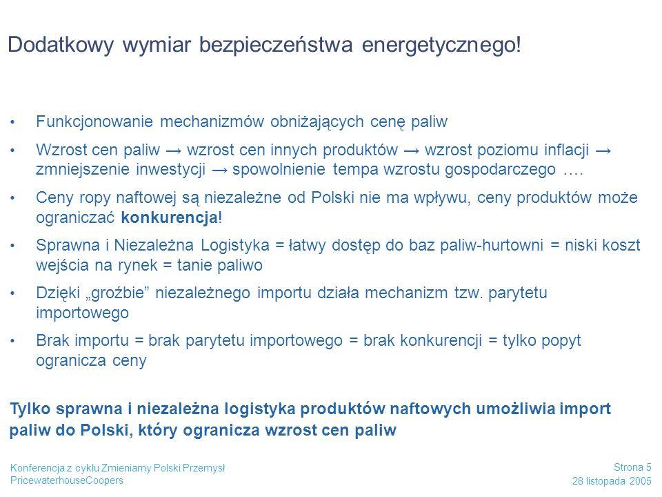 PricewaterhouseCoopers 28 listopada 2005 Strona 5 Konferencja z cyklu Zmieniamy Polski Przemysł Dodatkowy wymiar bezpieczeństwa energetycznego! Funkcj
