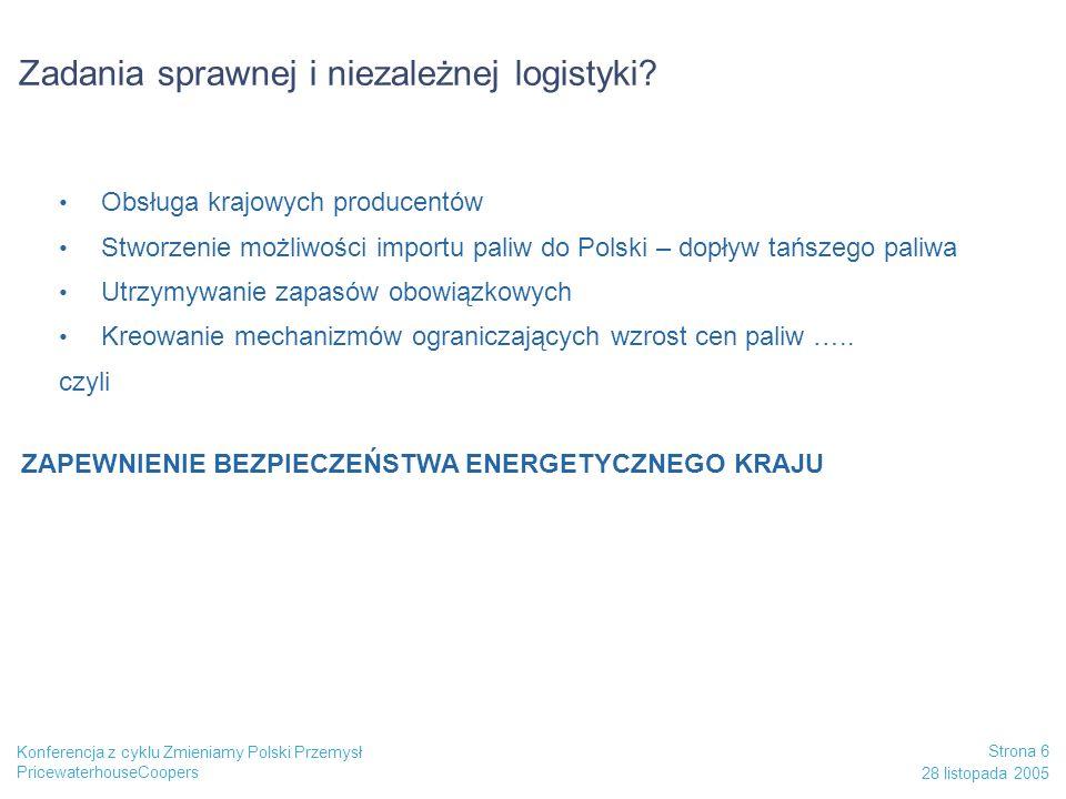 PricewaterhouseCoopers 28 listopada 2005 Strona 6 Konferencja z cyklu Zmieniamy Polski Przemysł Zadania sprawnej i niezależnej logistyki? Obsługa kraj
