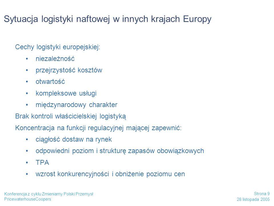 PricewaterhouseCoopers 28 listopada 2005 Strona 9 Konferencja z cyklu Zmieniamy Polski Przemysł Sytuacja logistyki naftowej w innych krajach Europy Ce