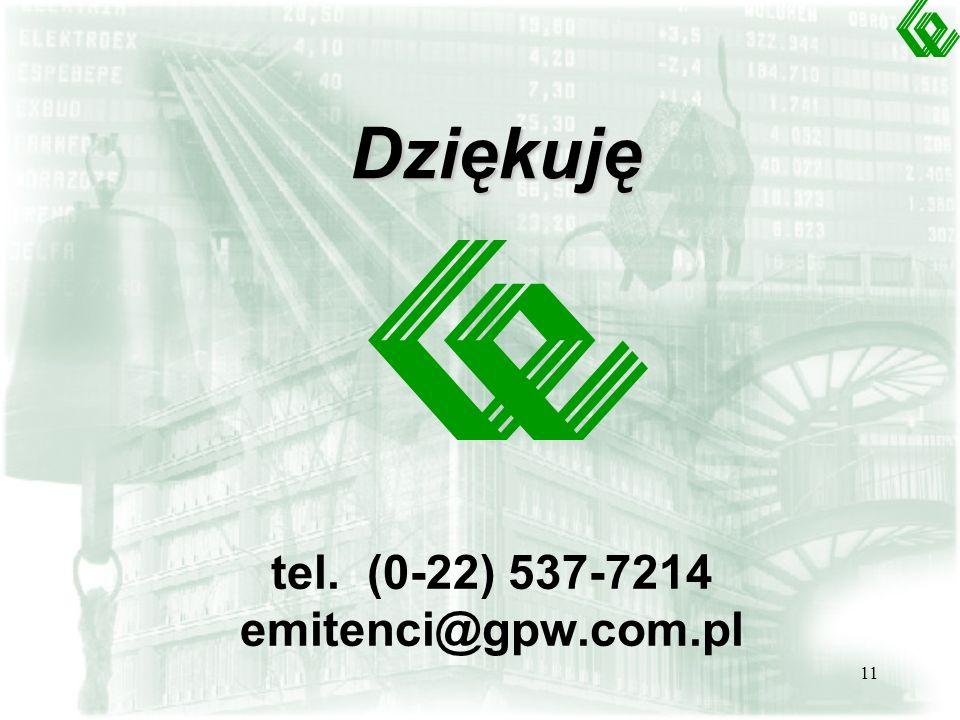 11 Dziękuję tel. (0-22) 537-7214 emitenci@gpw.com.pl