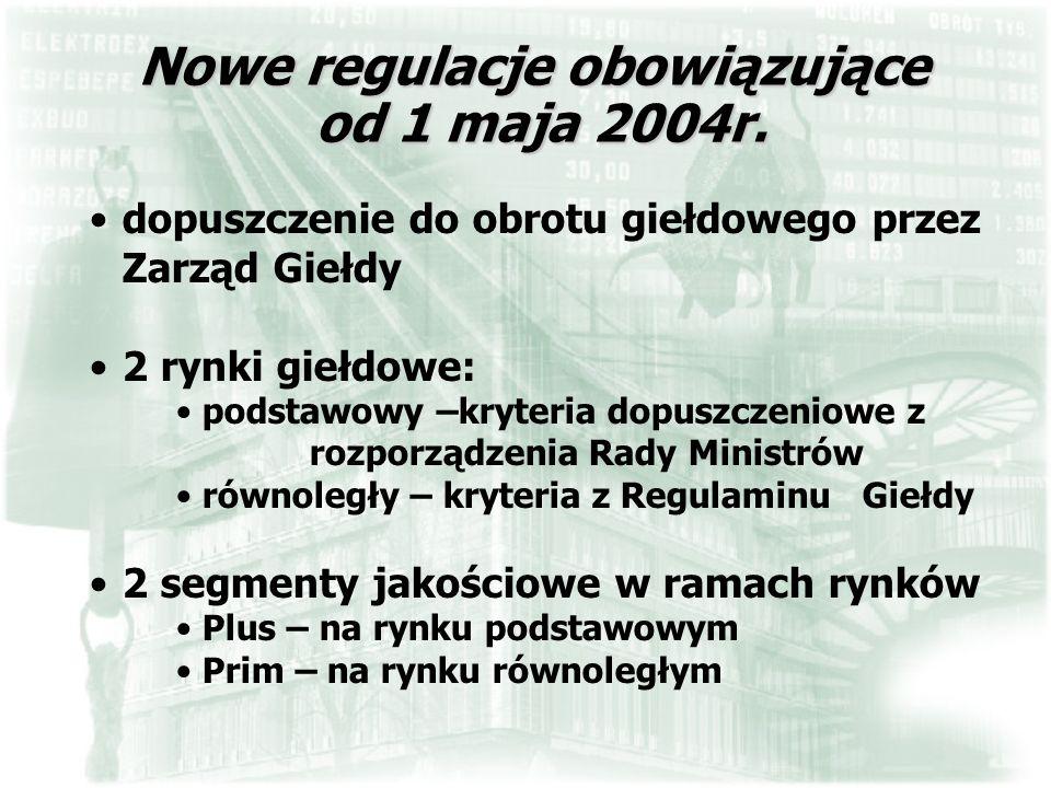 Nowe regulacje obowiązujące od 1 maja 2004r. dopuszczenie do obrotu giełdowego przez Zarząd Giełdy 2 rynki giełdowe: podstawowy –kryteria dopuszczenio