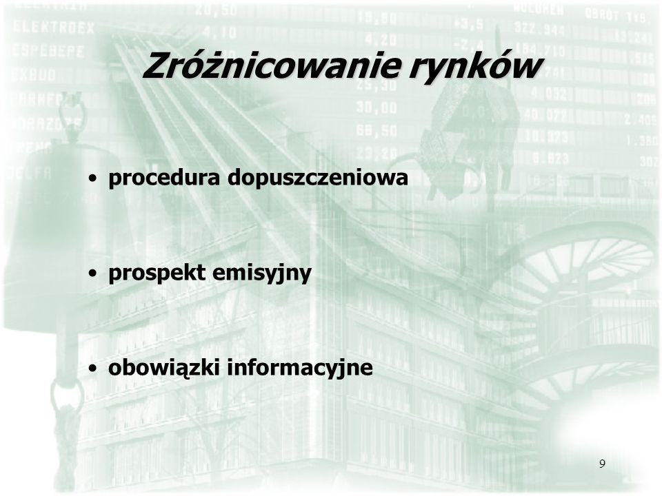 9 Zróżnicowanie rynków procedura dopuszczeniowa prospekt emisyjny obowiązki informacyjne