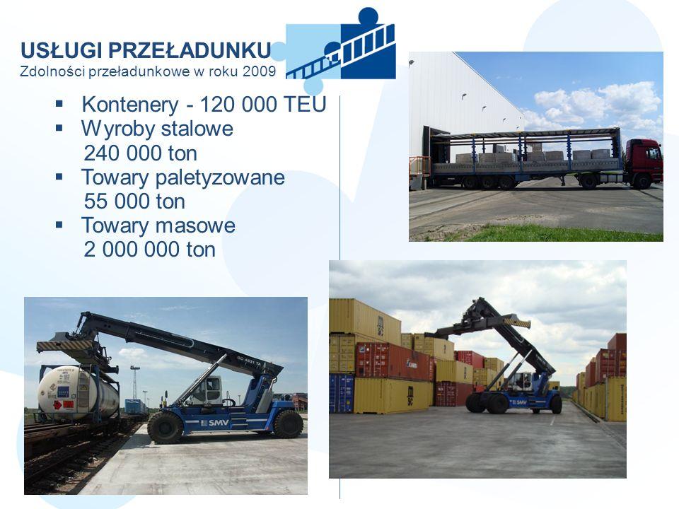 USŁUGI PRZEŁADUNKU Zdolności przeładunkowe w roku 2009 Kontenery - 120 000 TEU Wyroby stalowe 240 000 ton Towary paletyzowane 55 000 ton Towary masowe