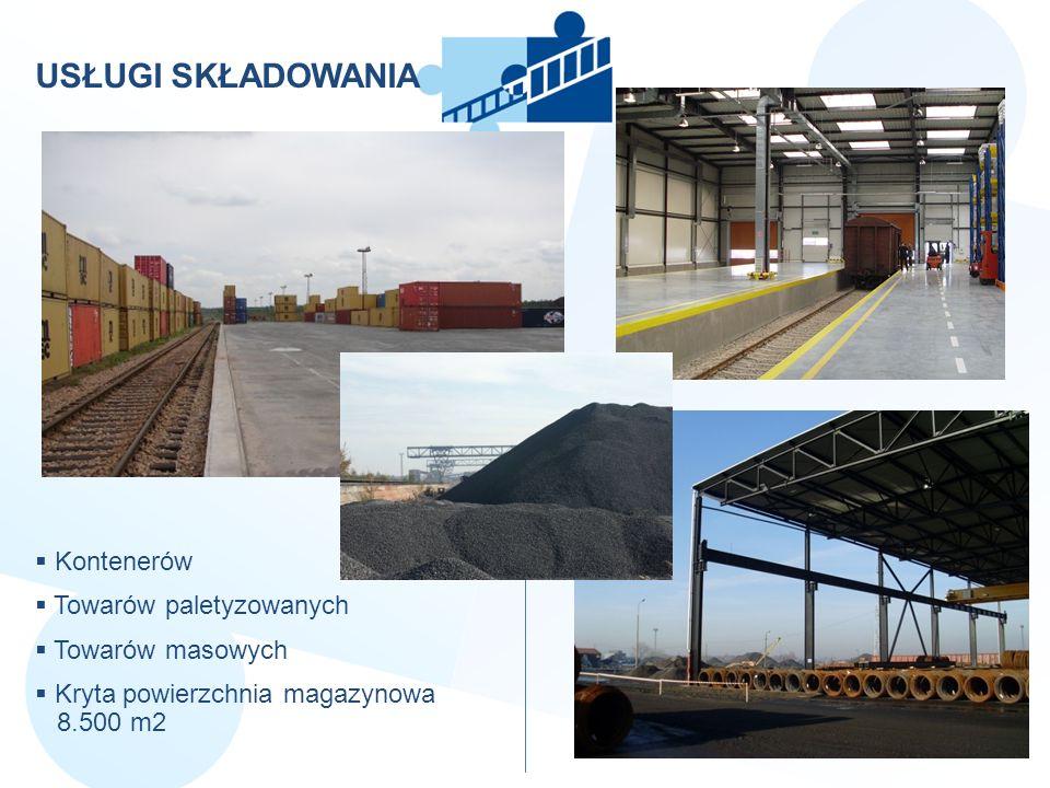 USŁUGI SKŁADOWANIA Kontenerów Towarów paletyzowanych Towarów masowych Kryta powierzchnia magazynowa 8.500 m2
