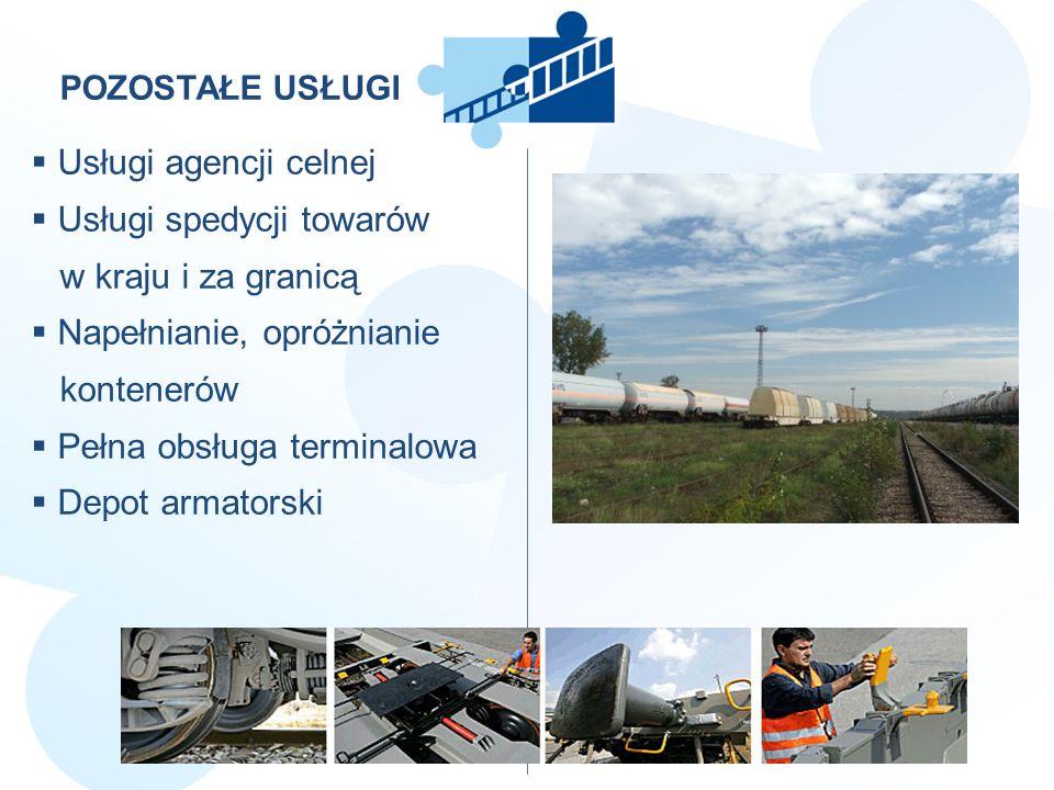 POZOSTAŁE USŁUGI Usługi agencji celnej Usługi spedycji towarów w kraju i za granicą Napełnianie, opróżnianie kontenerów Pełna obsługa terminalowa Depo