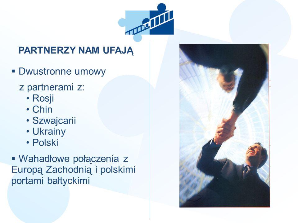 PARTNERZY NAM UFAJĄ Dwustronne umowy z partnerami z: Rosji Chin Szwajcarii Ukrainy Polski Wahadłowe połączenia z Europą Zachodnią i polskimi portami b
