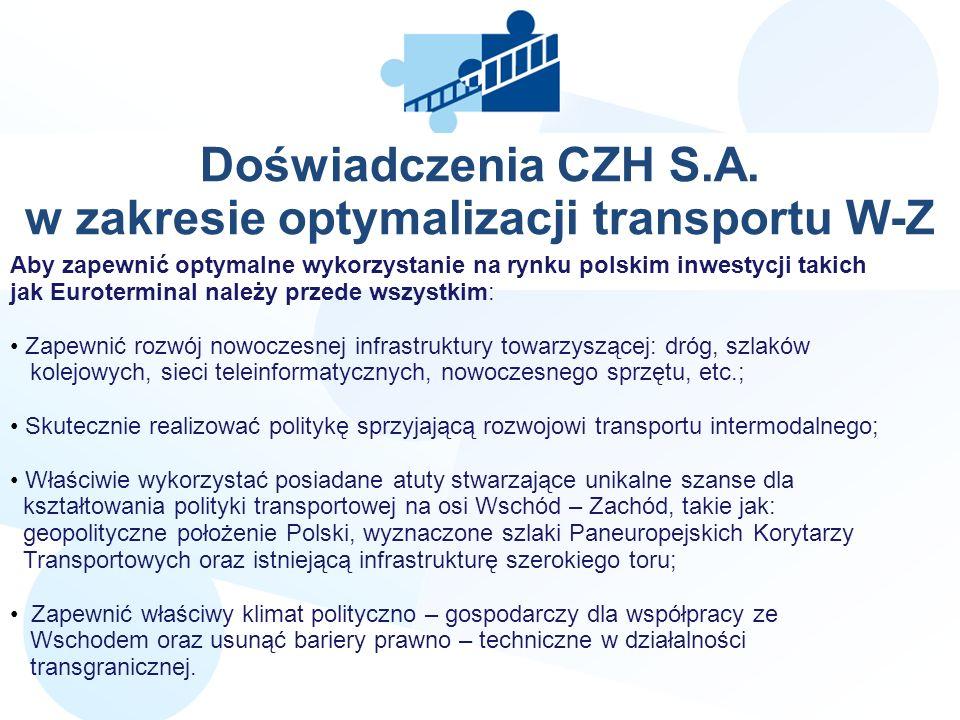 Doświadczenia CZH S.A. w zakresie optymalizacji transportu W-Z LLL Aby zapewnić optymalne wykorzystanie na rynku polskim inwestycji takich jak Euroter