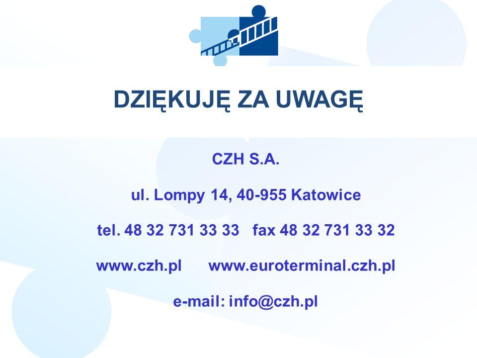 CZH S.A. ul. Lompy 14, 40-955 Katowice tel. 48 32 731 33 33 fax 48 32 731 33 32 www.czh.pl www.euroterminal.czh.pl e-mail: info@czh.pl JJJ DZIĘKUJĘ ZA