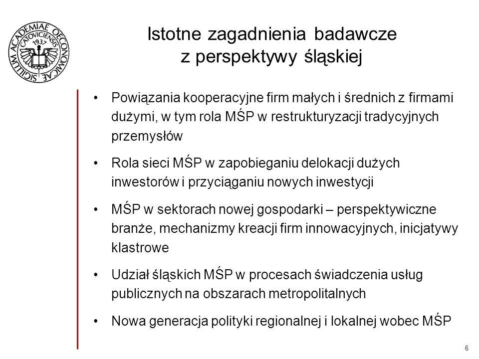 6 Istotne zagadnienia badawcze z perspektywy śląskiej Powiązania kooperacyjne firm małych i średnich z firmami dużymi, w tym rola MŚP w restrukturyzac
