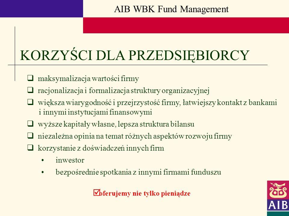 AIB WBK Fund Management KORZYŚCI DLA PRZEDSIĘBIORCY maksymalizacja wartości firmy racjonalizacja i formalizacja struktury organizacyjnej większa wiary
