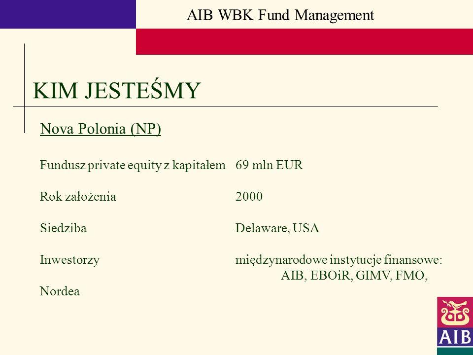 AIB WBK Fund Management KIM JESTEŚMY Nova Polonia (NP) Fundusz private equity z kapitałem 69 mln EUR Rok założenia 2000 Siedziba Delaware, USA Inwesto