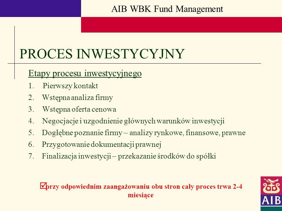 AIB WBK Fund Management PROCES INWESTYCYJNY Etapy procesu inwestycyjnego 1. Pierwszy kontakt 2. Wstępna analiza firmy 3.Wstępna oferta cenowa 4.Negocj