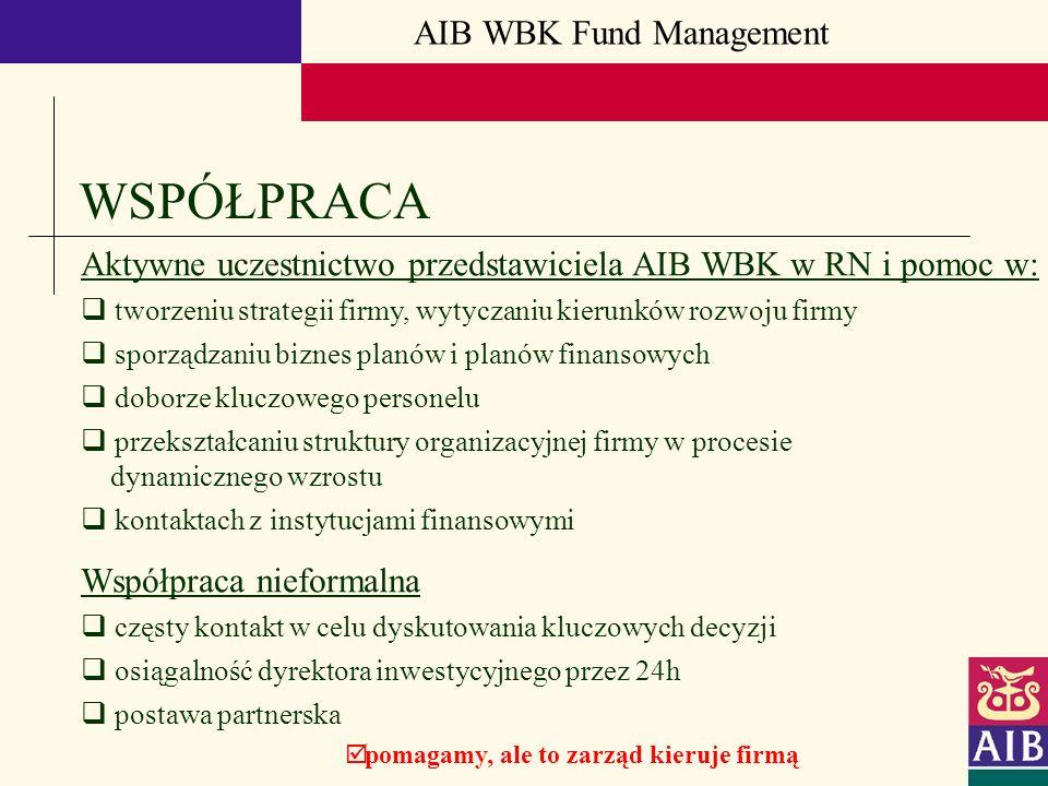AIB WBK Fund Management WSPÓŁPRACA Aktywne uczestnictwo przedstawiciela AIB WBK w RN i pomoc w: tworzeniu strategii firmy, wytyczaniu kierunków rozwoj