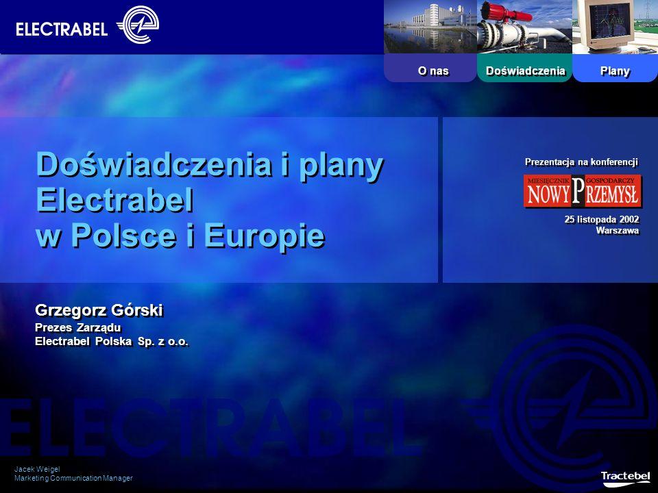 Plany O nas Doświadczenia Doświadczenia i plany Electrabel w Polsce i Europie Jacek Weigel Marketing Communication Manager Jacek Weigel Marketing Comm