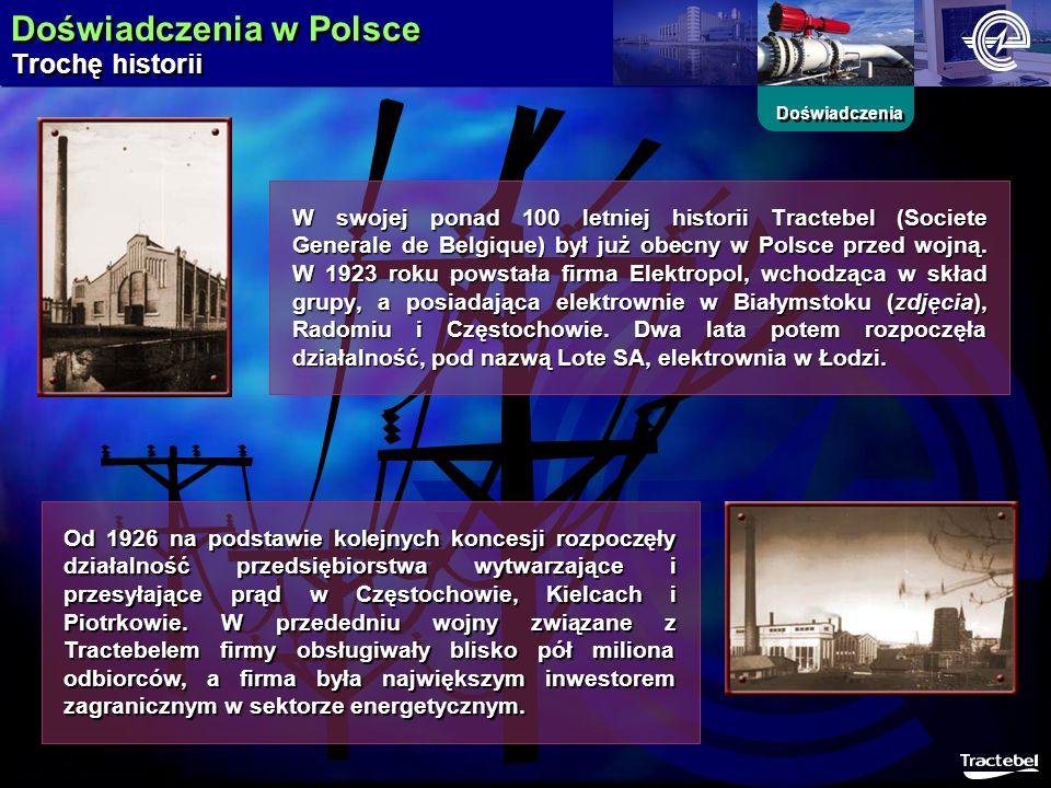 Doświadczenia w Polsce Trochę historii Doświadczenia W swojej ponad 100 letniej historii Tractebel (Societe Generale de Belgique) był już obecny w Pol