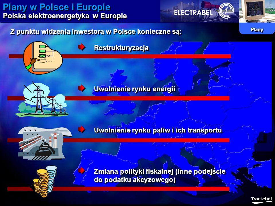 Plany w Polsce i Europie Polska elektroenergetyka w Europie Plany Z punktu widzenia inwestora w Polsce konieczne są: Restrukturyzacja Uwolnienie rynku