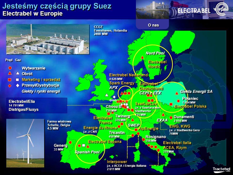 Jesteśmy częścią grupy Suez Electrabel w Europie O nas Obrót Marketing i sprzedaż Wytwarzanie Giełdy i rynki energii Rosignano 356 MW Rosignano 356 MW