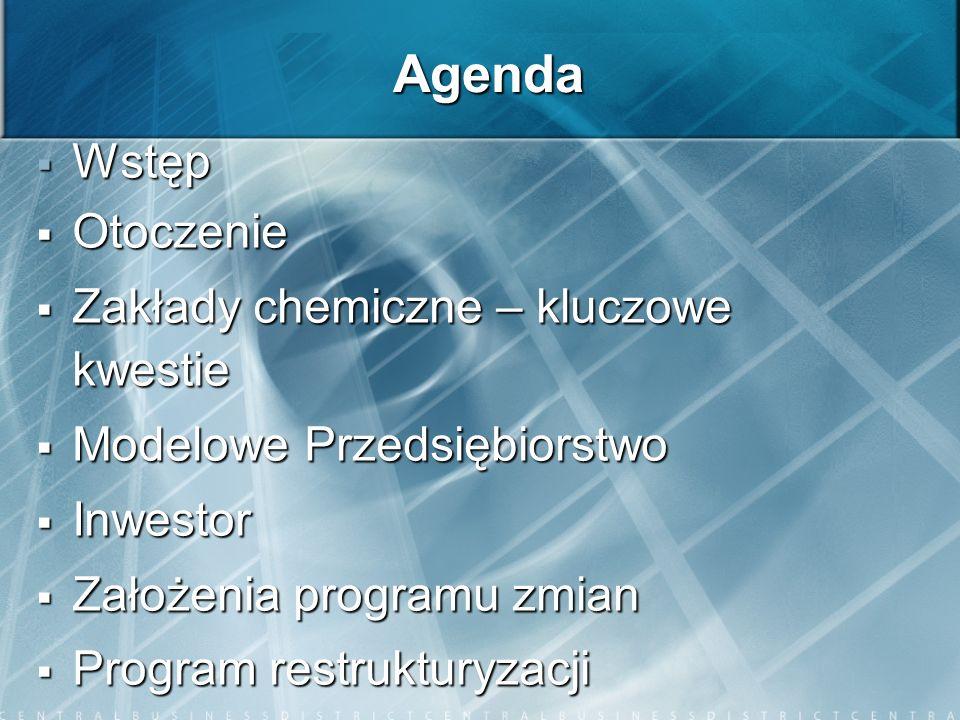 Agenda Wstęp Wstęp Otoczenie Otoczenie Zakłady chemiczne – kluczowe kwestie Zakłady chemiczne – kluczowe kwestie Modelowe Przedsiębiorstwo Modelowe Pr