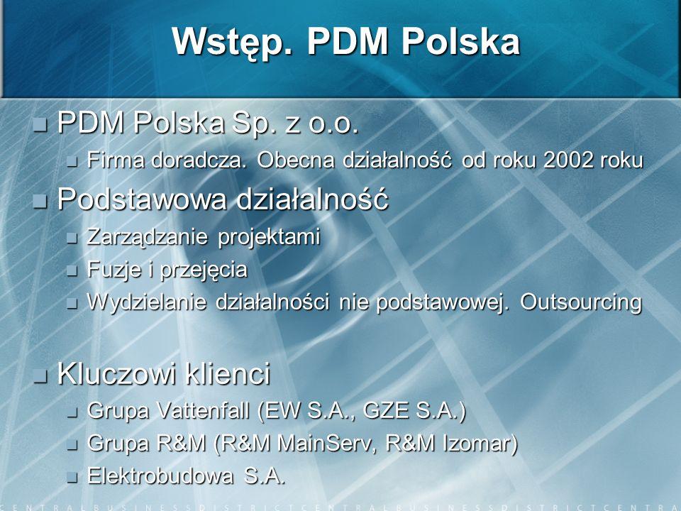 Wstęp. PDM Polska PDM Polska Sp. z o.o. PDM Polska Sp. z o.o. Firma doradcza. Obecna działalność od roku 2002 roku Firma doradcza. Obecna działalność