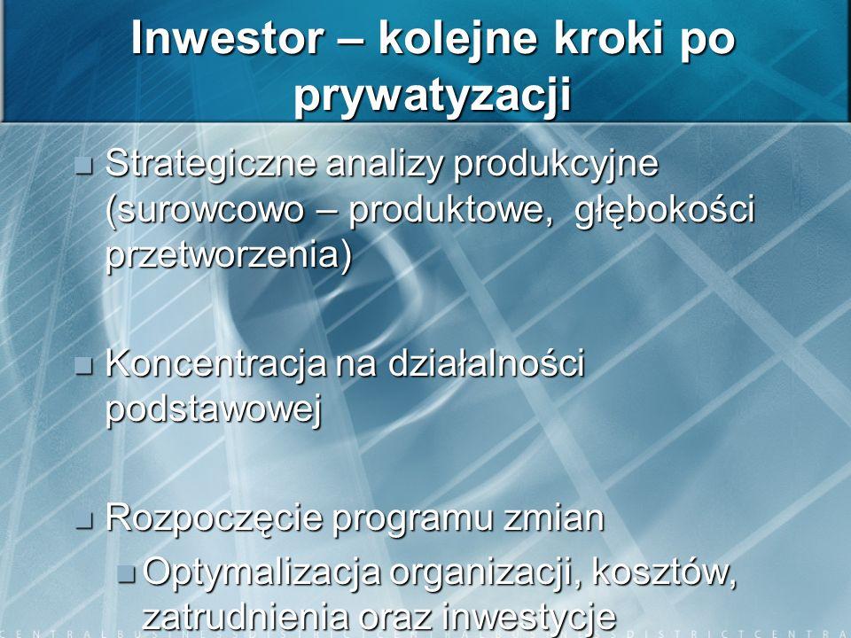 Inwestor – kolejne kroki po prywatyzacji Strategiczne analizy produkcyjne (surowcowo – produktowe, głębokości przetworzenia) Strategiczne analizy prod