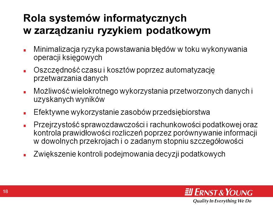 18 Rola systemów informatycznych w zarządzaniu ryzykiem podatkowym n Minimalizacja ryzyka powstawania błędów w toku wykonywania operacji księgowych n