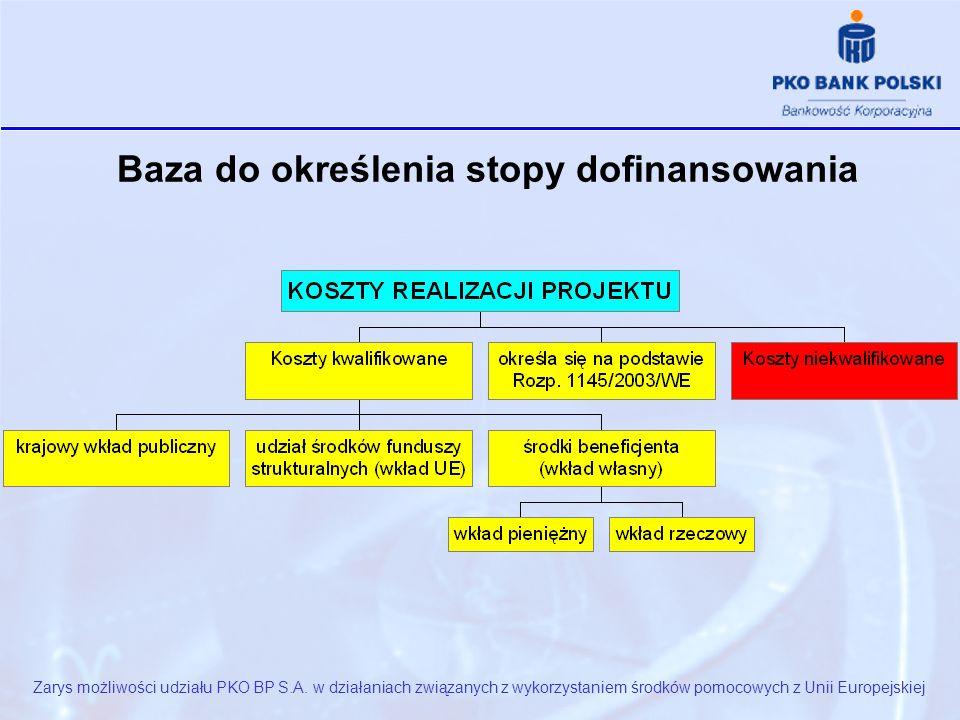 Baza do określenia stopy dofinansowania Zarys możliwości udziału PKO BP S.A.