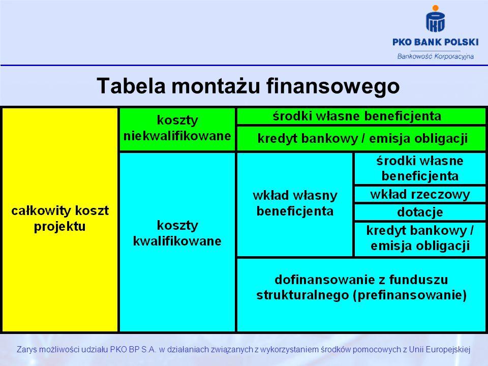Tabela montażu finansowego Zarys możliwości udziału PKO BP S.A.