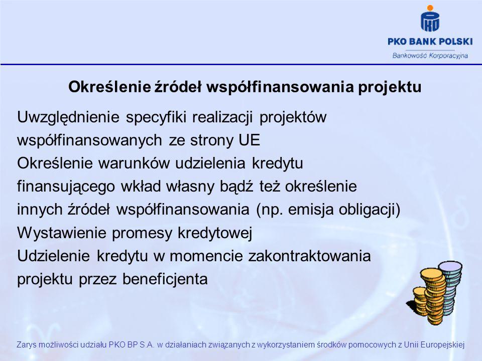 Określenie źródeł współfinansowania projektu Uwzględnienie specyfiki realizacji projektów współfinansowanych ze strony UE Określenie warunków udzielenia kredytu finansującego wkład własny bądź też określenie innych źródeł współfinansowania (np.