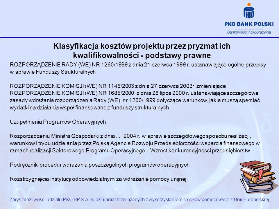 Klasyfikacja kosztów projektu przez pryzmat ich kwalifikowalności - podstawy prawne ROZPORZĄDZENIE RADY (WE) NR 1260/1999 z dnia 21 czerwca 1999 r.