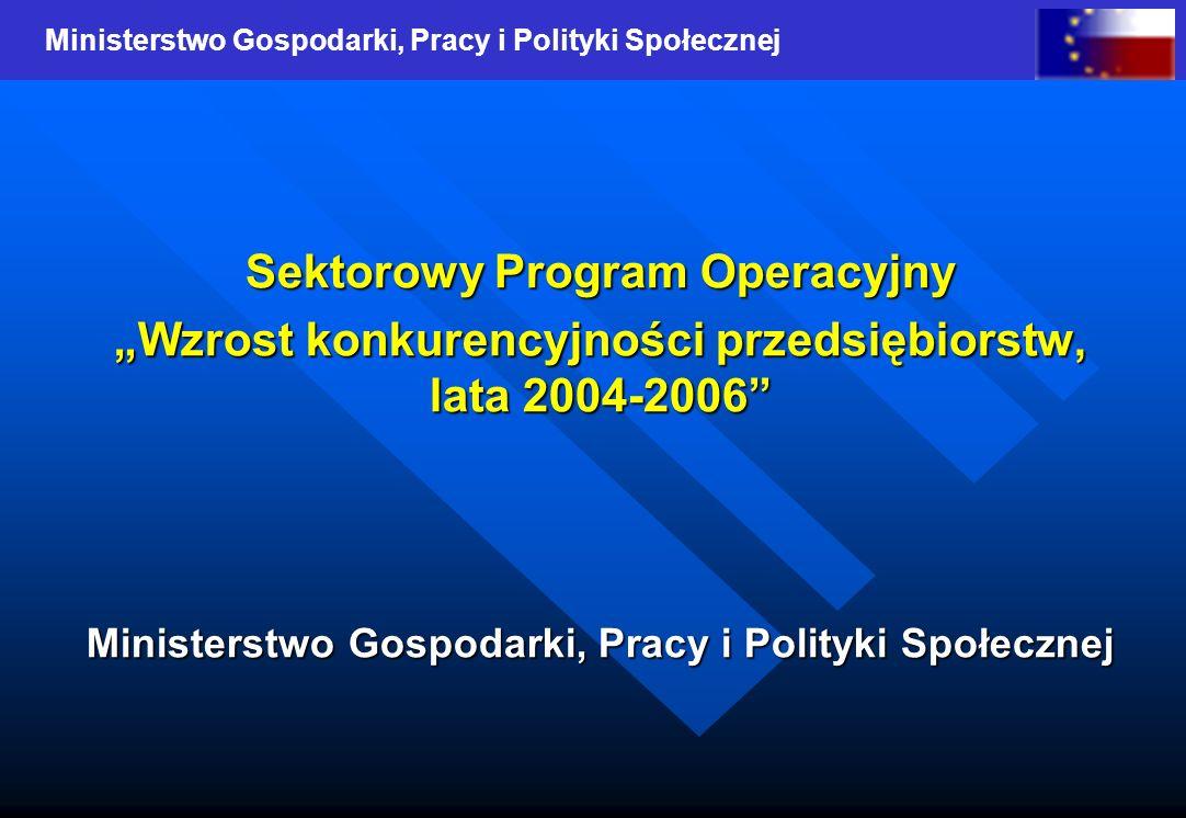 Ministerstwo Gospodarki, Pracy i Polityki Społecznej Sektorowy Program Operacyjny Wzrost konkurencyjności przedsiębiorstw, lata 2004-2006 Ministerstwo Gospodarki, Pracy i Polityki Społecznej