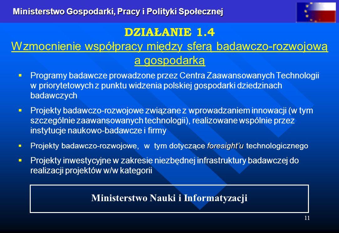 Ministerstwo Gospodarki, Pracy i Polityki Społecznej Ministerstwo Gospodarki, Pracy i Polityki Społecznej 11 Programy badawcze prowadzone przez Centra Zaawansowanych Technologii w priorytetowych z punktu widzenia polskiej gospodarki dziedzinach badawczych Projekty badawczo-rozwojowe związane z wprowadzaniem innowacji (w tym szczególnie zaawansowanych technologii), realizowane wspólnie przez instytucje naukowo-badawcze i firmy foresightu Projekty badawczo-rozwojowe, w tym dotyczące foresightu technologicznego Projekty inwestycyjne w zakresie niezbędnej infrastruktury badawczej do realizacji projektów w/w kategorii DZIAŁANIE 1.4 Wzmocnienie współpracy między sferą badawczo-rozwojową a gospodarką Ministerstwo Nauki i Informatyzacji