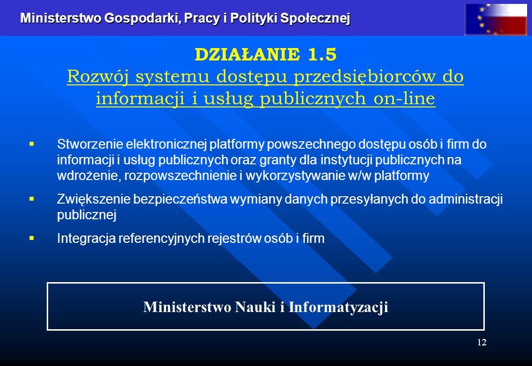 Ministerstwo Gospodarki, Pracy i Polityki Społecznej Ministerstwo Gospodarki, Pracy i Polityki Społecznej 12 Stworzenie elektronicznej platformy powszechnego dostępu osób i firm do informacji i usług publicznych oraz granty dla instytucji publicznych na wdrożenie, rozpowszechnienie i wykorzystywanie w/w platformy Zwiększenie bezpieczeństwa wymiany danych przesyłanych do administracji publicznej Integracja referencyjnych rejestrów osób i firm DZIAŁANIE 1.5 Rozwój systemu dostępu przedsiębiorców do informacji i usług publicznych on-line Ministerstwo Nauki i Informatyzacji