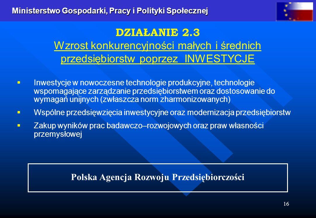 Ministerstwo Gospodarki, Pracy i Polityki Społecznej Ministerstwo Gospodarki, Pracy i Polityki Społecznej 16 Inwestycje w nowoczesne technologie produkcyjne, technologie wspomagające zarządzanie przedsiębiorstwem oraz dostosowanie do wymagań unijnych (zwłaszcza norm zharmonizowanych) Wspólne przedsięwzięcia inwestycyjne oraz modernizacja przedsiębiorstw Zakup wyników prac badawczo–rozwojowych oraz praw własności przemysłowej DZIAŁANIE 2.3 Wzrost konkurencyjności małych i średnich przedsiębiorstw poprzez INWESTYCJE Polska Agencja Rozwoju Przedsiębiorczości