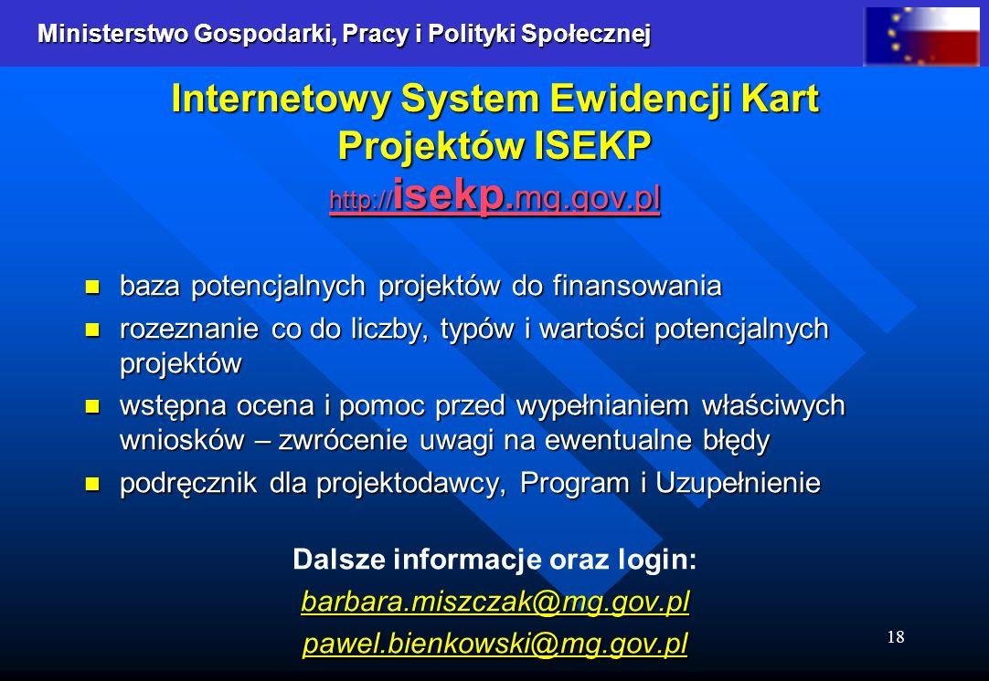 Ministerstwo Gospodarki, Pracy i Polityki Społecznej Ministerstwo Gospodarki, Pracy i Polityki Społecznej 18 Internetowy System Ewidencji Kart Projektów ISEKP http:// isekp.