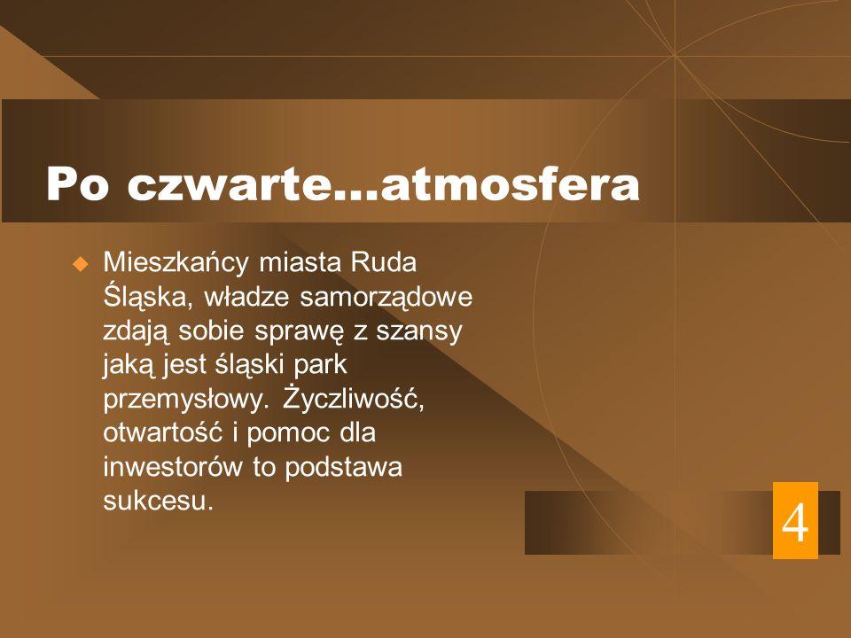 Po czwarte...atmosfera Mieszkańcy miasta Ruda Śląska, władze samorządowe zdają sobie sprawę z szansy jaką jest śląski park przemysłowy.