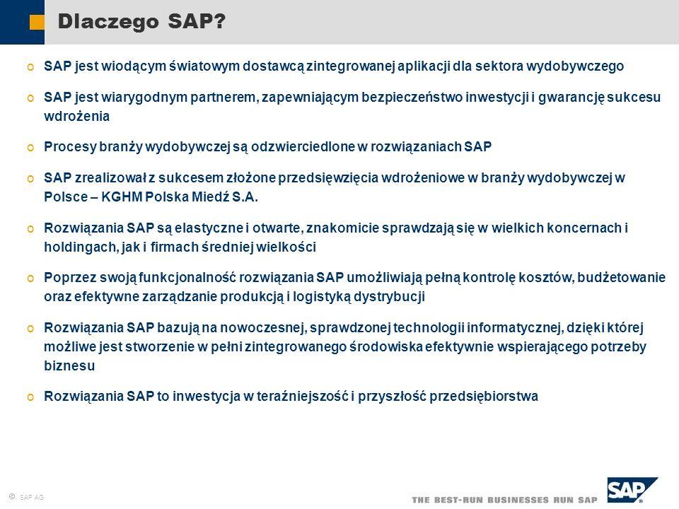 SAP AG Dlaczego SAP? oSAP jest wiodącym światowym dostawcą zintegrowanej aplikacji dla sektora wydobywczego oSAP jest wiarygodnym partnerem, zapewniaj