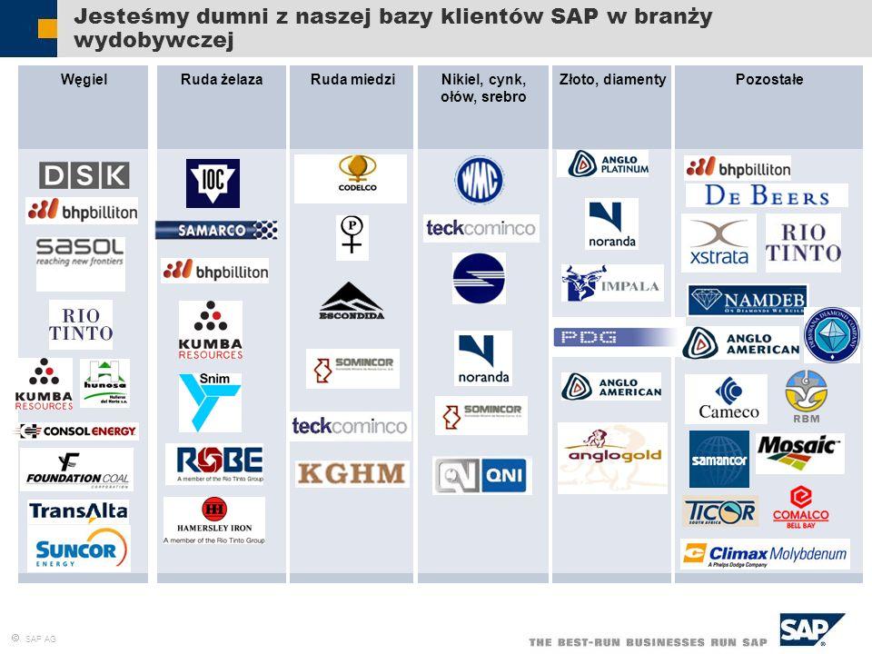 SAP AG WęgielRuda żelazaZłoto, diamentyRuda miedziPozostałeNikiel, cynk, ołów, srebro Jesteśmy dumni z naszej bazy klientów SAP w branży wydobywczej