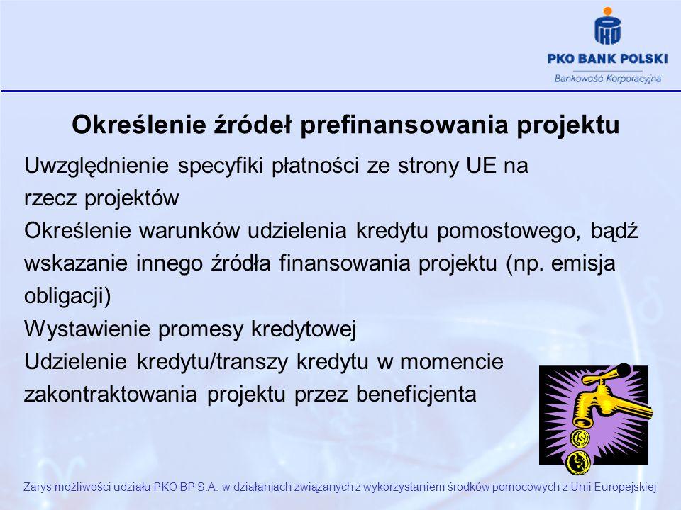 Określenie źródeł prefinansowania projektu Uwzględnienie specyfiki płatności ze strony UE na rzecz projektów Określenie warunków udzielenia kredytu pomostowego, bądź wskazanie innego źródła finansowania projektu (np.