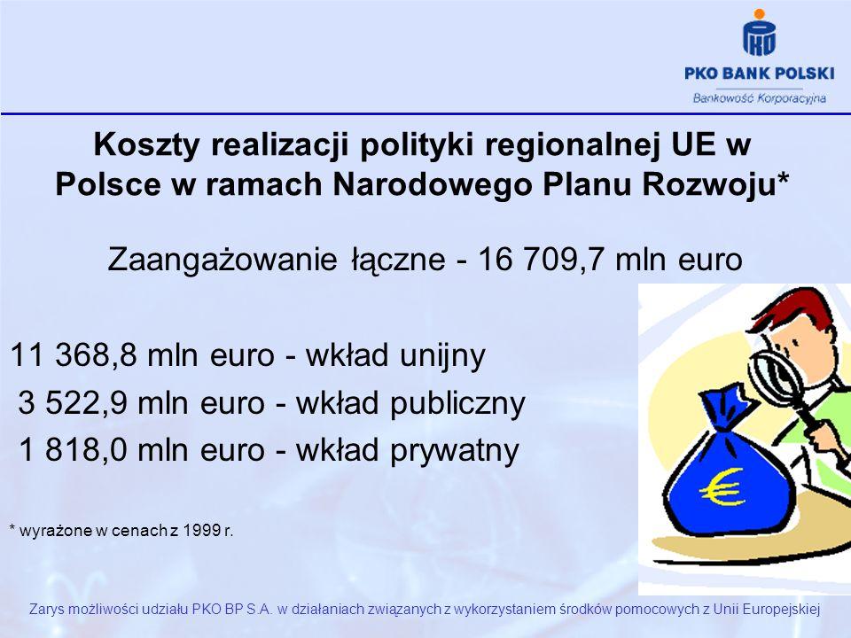 Koszty realizacji polityki regionalnej UE w Polsce w ramach Narodowego Planu Rozwoju* Zarys możliwości udziału PKO BP S.A.