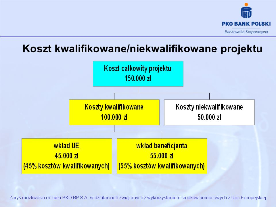 Koszt kwalifikowane/niekwalifikowane projektu Zarys możliwości udziału PKO BP S.A.