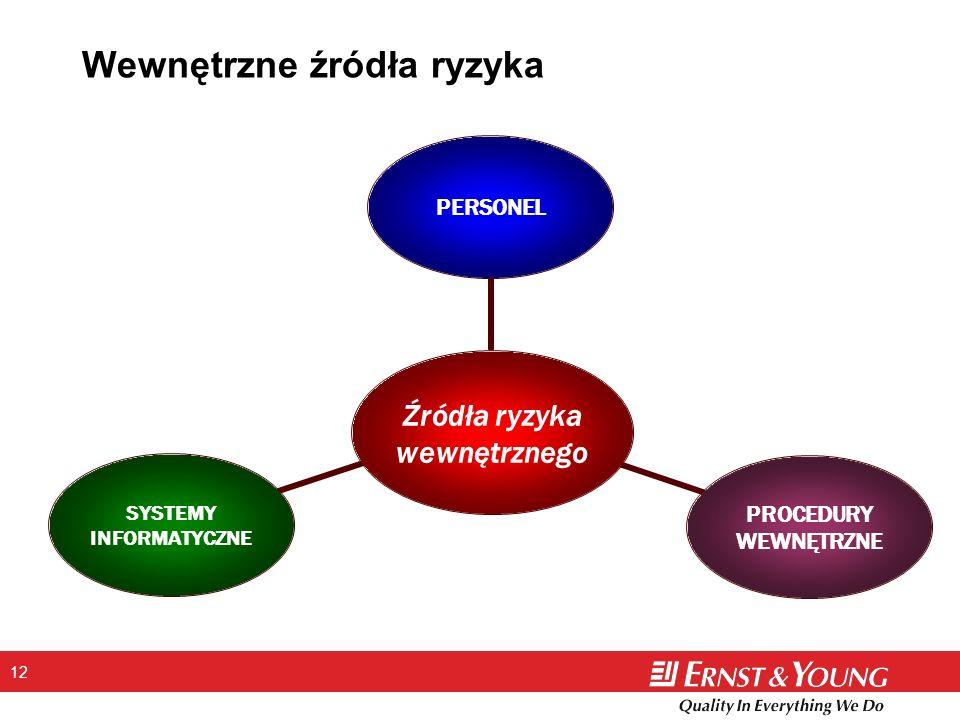 12 Wewnętrzne źródła ryzyka Źródła ryzyka wewnętrznego PERSONEL PROCEDURY WEWNĘTRZNE SYSTEMY INFORMATYCZNE