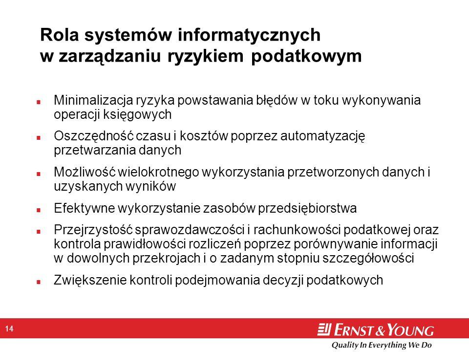 14 Rola systemów informatycznych w zarządzaniu ryzykiem podatkowym n Minimalizacja ryzyka powstawania błędów w toku wykonywania operacji księgowych n