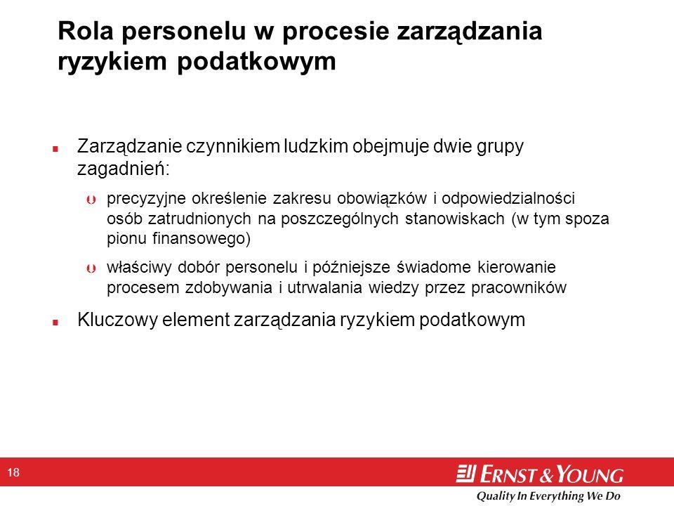 18 Rola personelu w procesie zarządzania ryzykiem podatkowym n Zarządzanie czynnikiem ludzkim obejmuje dwie grupy zagadnień: Þ precyzyjne określenie z