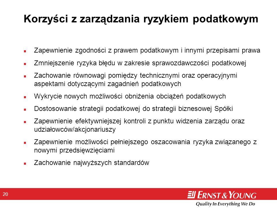 20 Korzyści z zarządzania ryzykiem podatkowym n Zapewnienie zgodności z prawem podatkowym i innymi przepisami prawa n Zmniejszenie ryzyka błędu w zakr