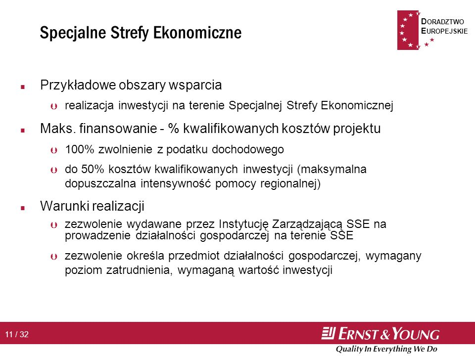 D ORADZTWO E UROPEJSKIE 11 / 32 Specjalne Strefy Ekonomiczne n Przykładowe obszary wsparcia Þ realizacja inwestycji na terenie Specjalnej Strefy Ekonomicznej n Maks.