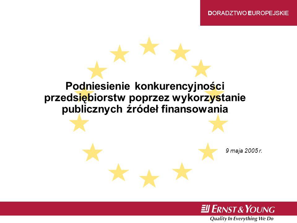 DORADZTWO EUROPEJSKIE Podniesienie konkurencyjności przedsiębiorstw poprzez wykorzystanie publicznych źródeł finansowania 9 maja 2005 r.